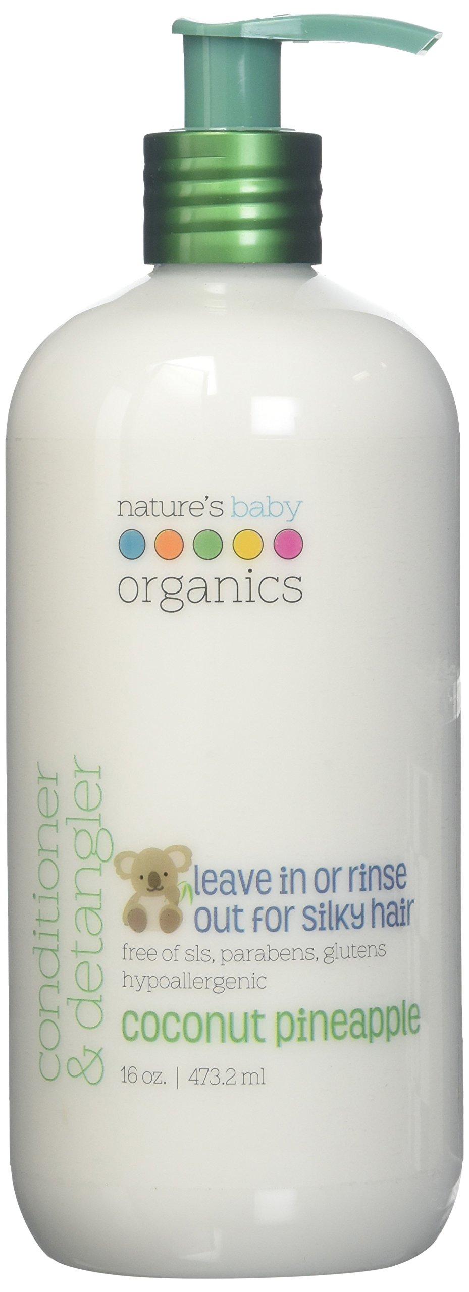 Nature's Baby Organics Conditioner & Detangler, Coconut Pineapple, 16 oz (2-Pack) | Babies, Kids, Adults! Moisturizing, Gentle, Rich, Hypoallergenic | No Parabens, SLS, Glutens