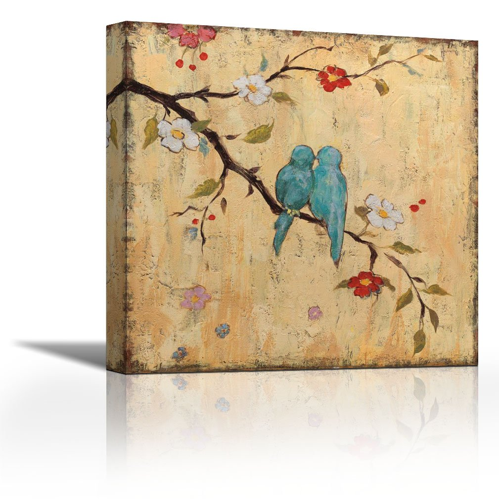 Karmakara Love Birds Ii Fine Art Print On Fine Art Canvas Stretched Gallery Wrap Style Wall Decor Painting Living Room Bedroom Drawing Room Ready To Hang Print 16 X 16 Inches