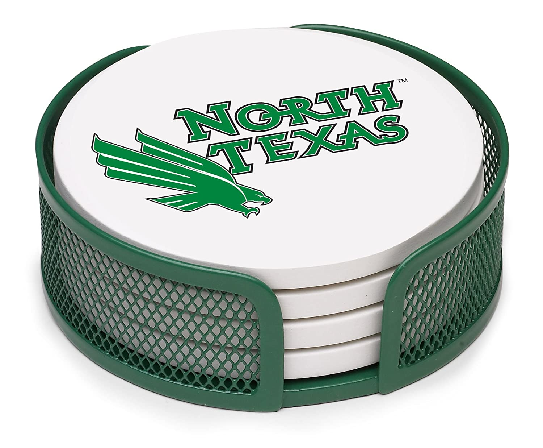 Thirstystone VNTU-HA26 Stoneware Drink Coaster Set with Holder North Texas University