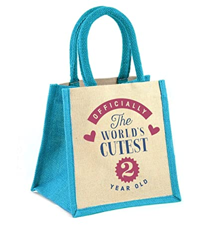 2nd Birthday Boy Two Year Old Gift Bag 20cm X Keepsake Party Or Present Turquoise Amazoncouk Kitchen Home