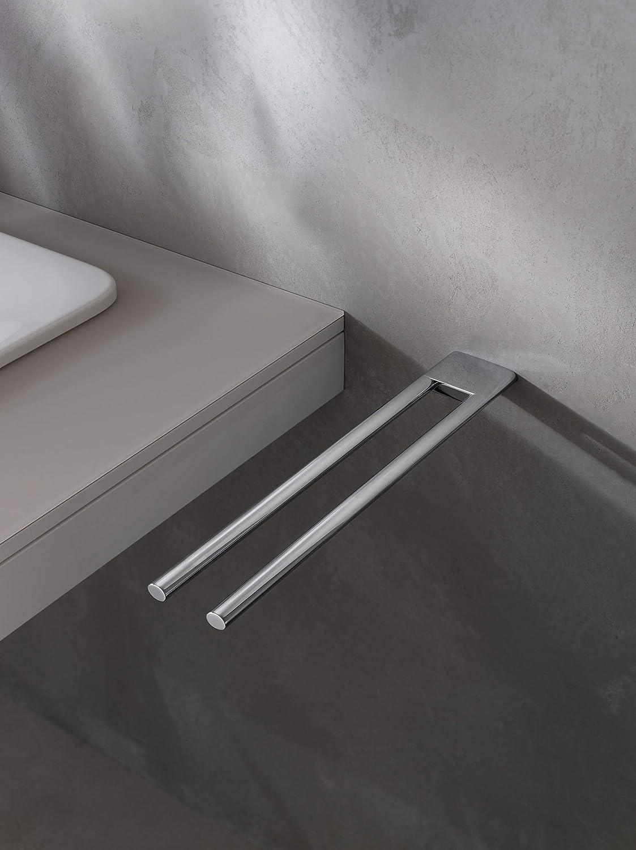 KEUCO Handtuchhalter aus Metall hochglanz verchromt zweiarmig starr 45cm tief für Badezimmer und Gäste Toilette Wandmontage Edition 400