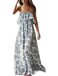 955473ed22c372 Sommerkleid Damen lang Maxikleid Sommer Boobtube Kleid Bandeau Schulterfrei  Blau
