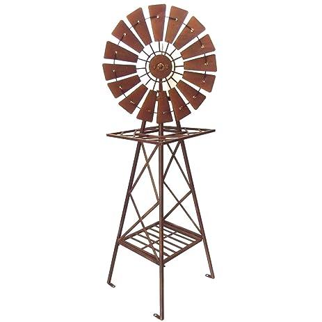 Windmill Garden Sculpture Metal Iron Ornament Rustic Brown BIG118cm 1915