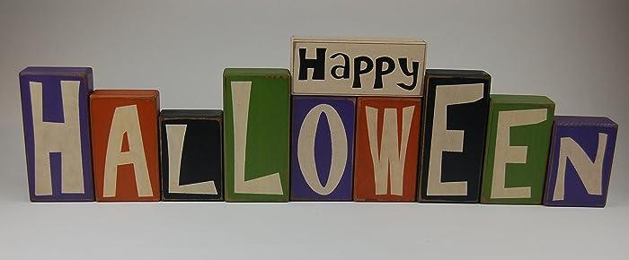 Amazon.com: Happy Halloween Letter Blocks BIG SET   Primitive Wood