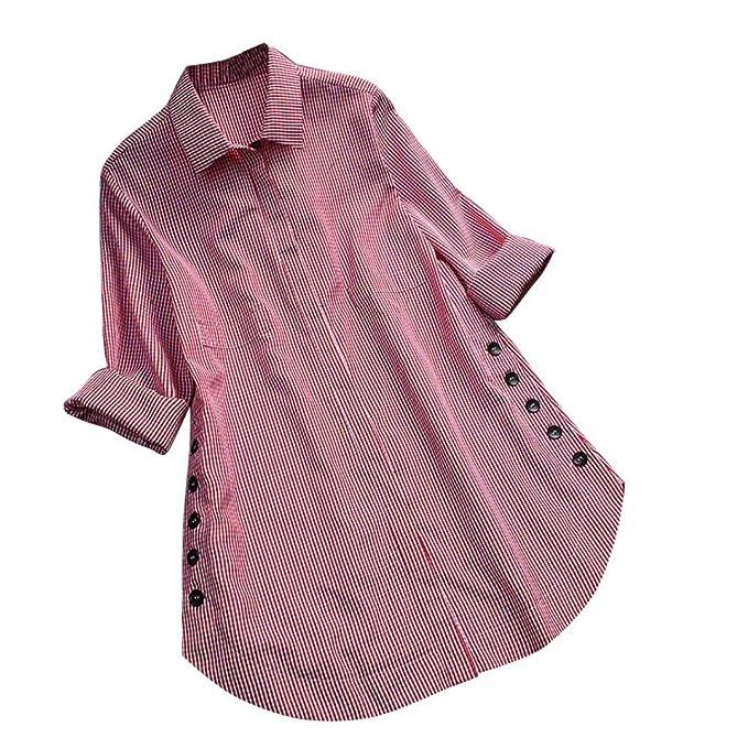 JiaMengi de Blusa, Camisetas Mujer Botšn de Rejilla de Manga Larga Camisa de Las Tapas Casuales Blusa de Tama?o Extrašªble Tops Blouse: Amazon.es: Ropa y ...