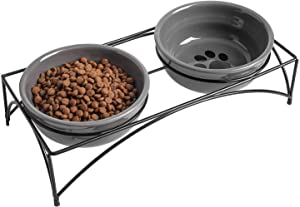 Y YHY Cat Food Bowls,Elevated Cat Bowls,Raised Pet Food Water Bowls with Stand,Ceramic Pet Bowls for Cat or Dogs,12 Ounces Cat Dishes,Grey