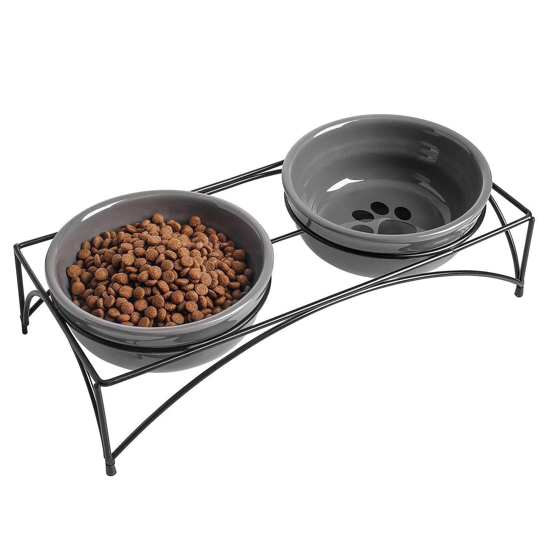 1 Pcs 8oz 1 Pcs 8oz YHY Ceramic Pet Cat Bowl, Shallow and Wide Food or Water Bowl, Gift for Cat, Cat Dish, 8-Oz, Grey
