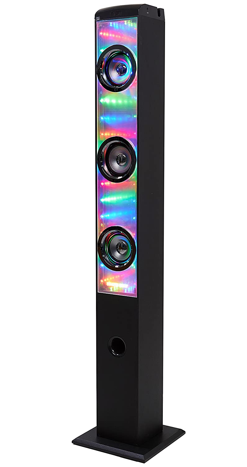 Sharper Image SBT1021BK Infinity Lights Mirror Bluetooth Tower Speaker With Lights, Colorful LED Show Southern Telecom