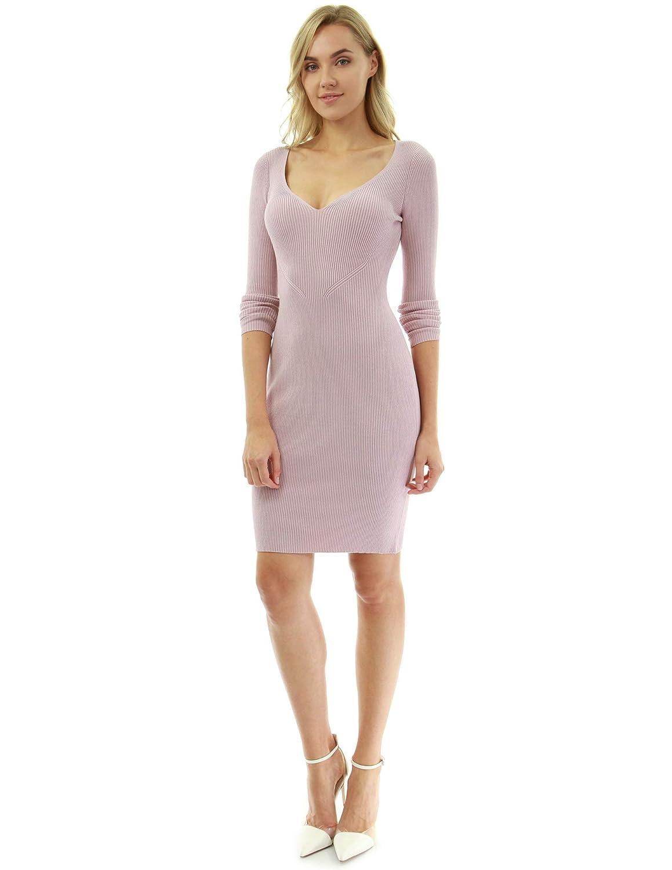 Pink PattyBoutik Women Notch V Neck Ribbed Knit Dress