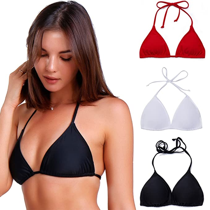 5c618b10093 COLO Women Triangle Bikini Top Push up Padded V-Neck Lace-up Basic Swimsuit  Top Black White Red