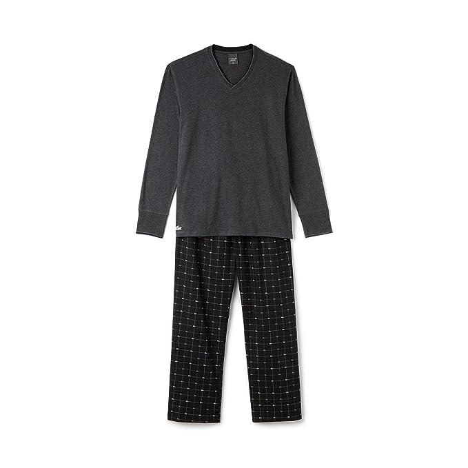 Lacoste para hombre del salón determinado pijamas largos clásicos conjunto S-XL - Greying