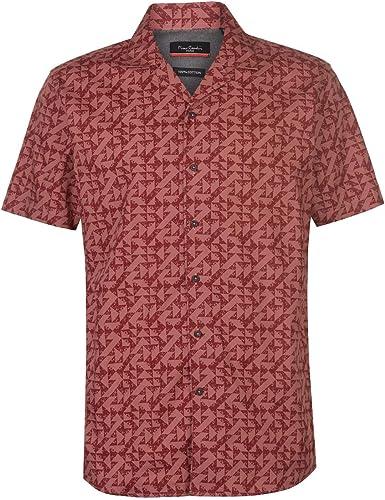 Pierre Cardin - Camisa geométrica de manga corta para hombre rojo XL: Amazon.es: Ropa y accesorios