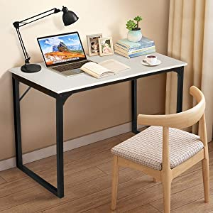 "KingSo Computer Desk 39"" Modern Simple Style Laptop Office Desk Wood Notebook Industrial White Desk Table, Metal Frame Study Desk Gaming Desk for Home Office Workstation"