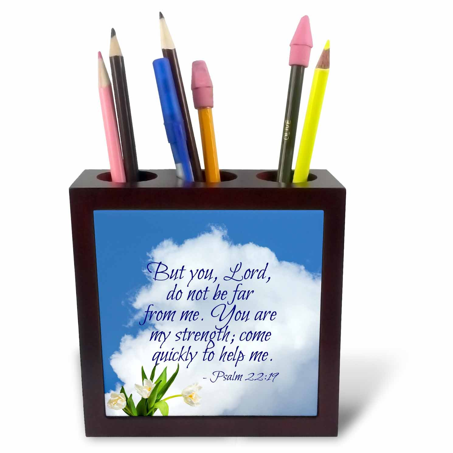 3dRose Alexis Design - Quotes Religion - Bible Quotes - Lord not be far from me. White Cloud, Tulips - 5 inch Tile Pen Holder (ph_280814_1) by 3dRose