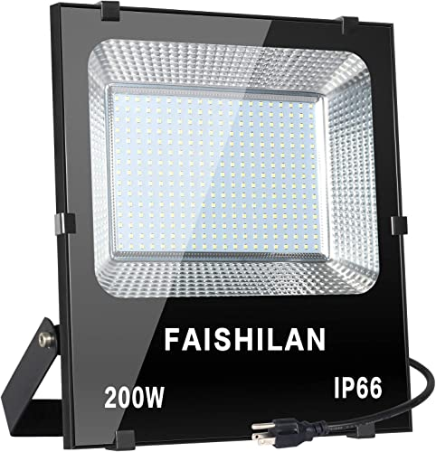 FAISHILAN 200W LED Flood Light, 1000W Halogen Equivalent Led Work Light, Waterproof IP66 Outdoor Flood Lights, Super Bright LED Backyard Lights for Garage, Garden, Lawn and Yard