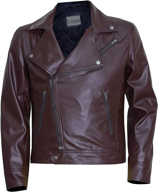 UZ Global Stylish Moto Brown Mens Leather Jacket