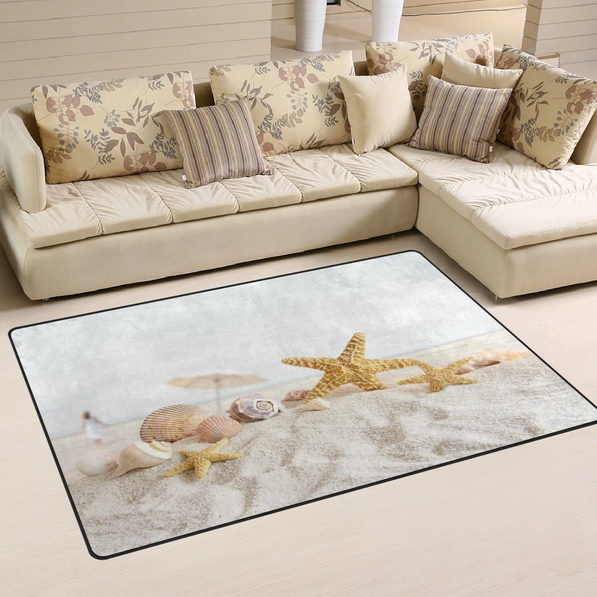 WOZO Starfish Seashells Sea Beach Area Rug Rugs Non-Slip Floor Mat Doormats Living Dining Room Bedroom Dorm 60 x 39 inches inches Home Decor