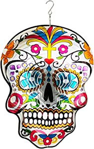 FONMY Kinetic 3D Metal Garden Wind Spinner Unique Gifts Outdoor Decorations Quality Hanging Ornament for Home and Garden 12inch Mandala Silver Sugar Skull Wind Spinners