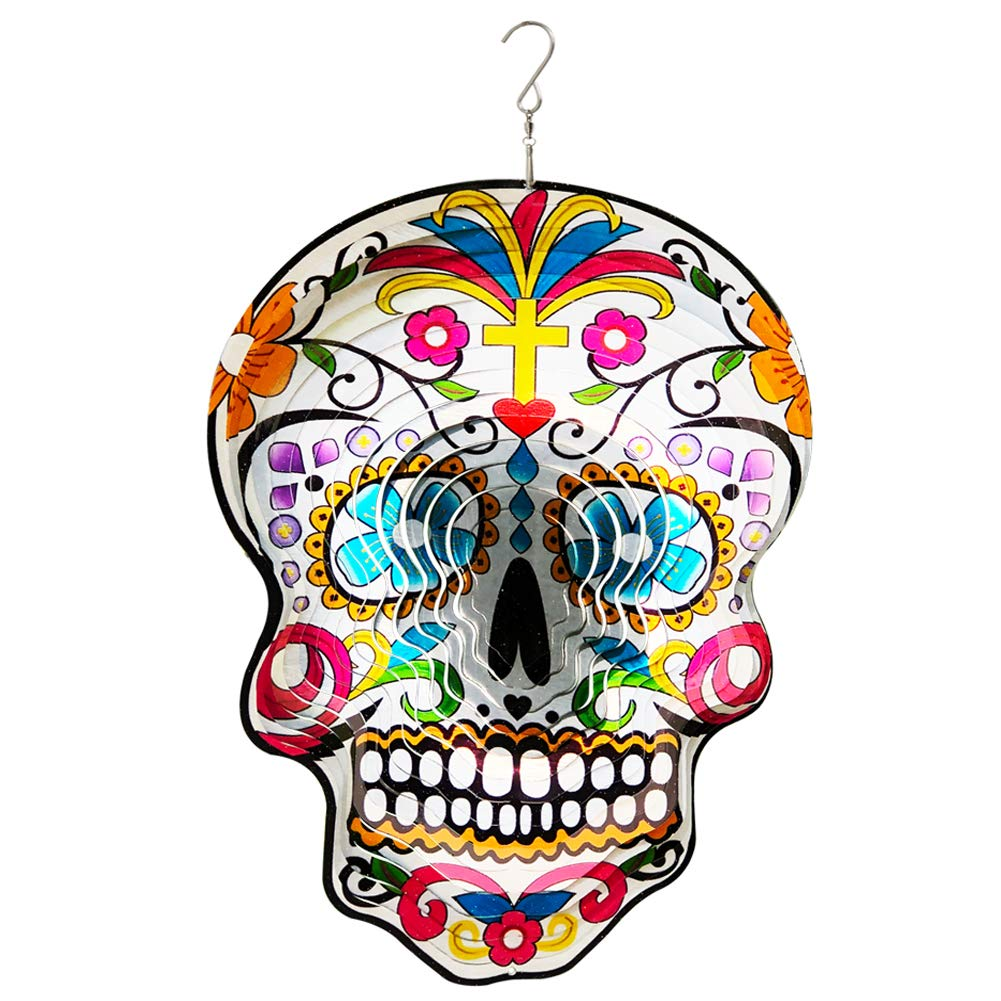 FONMY Kinetic 3D Metal Garden Wind Spinner Quality Hanging Ornament for Home and Garden 12inch Mandala Silver Sugar Skull Wind Spinners