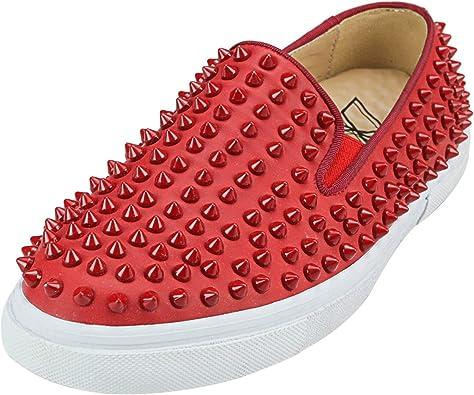 Amazon.com | ZXD Studded Slip Ons Red