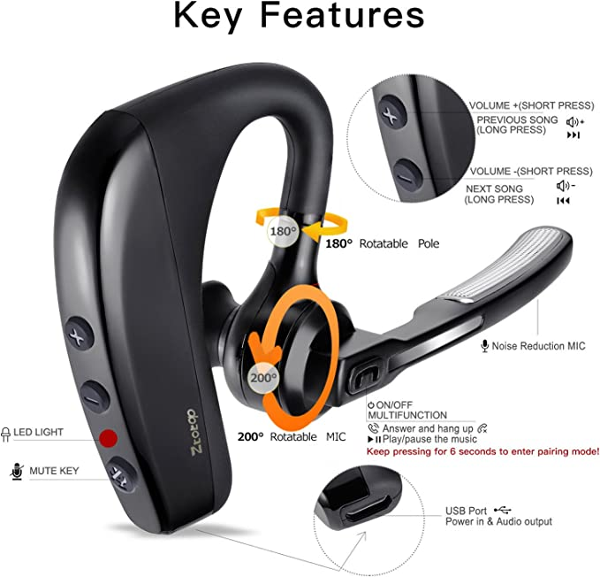 Bluetooth Headset, Ztotop Wireless Earpiece Bluetooth V4.1 Headphones Noise Isolating Stereo HD Sound Earbuds Hands Free in Car with Microphone for