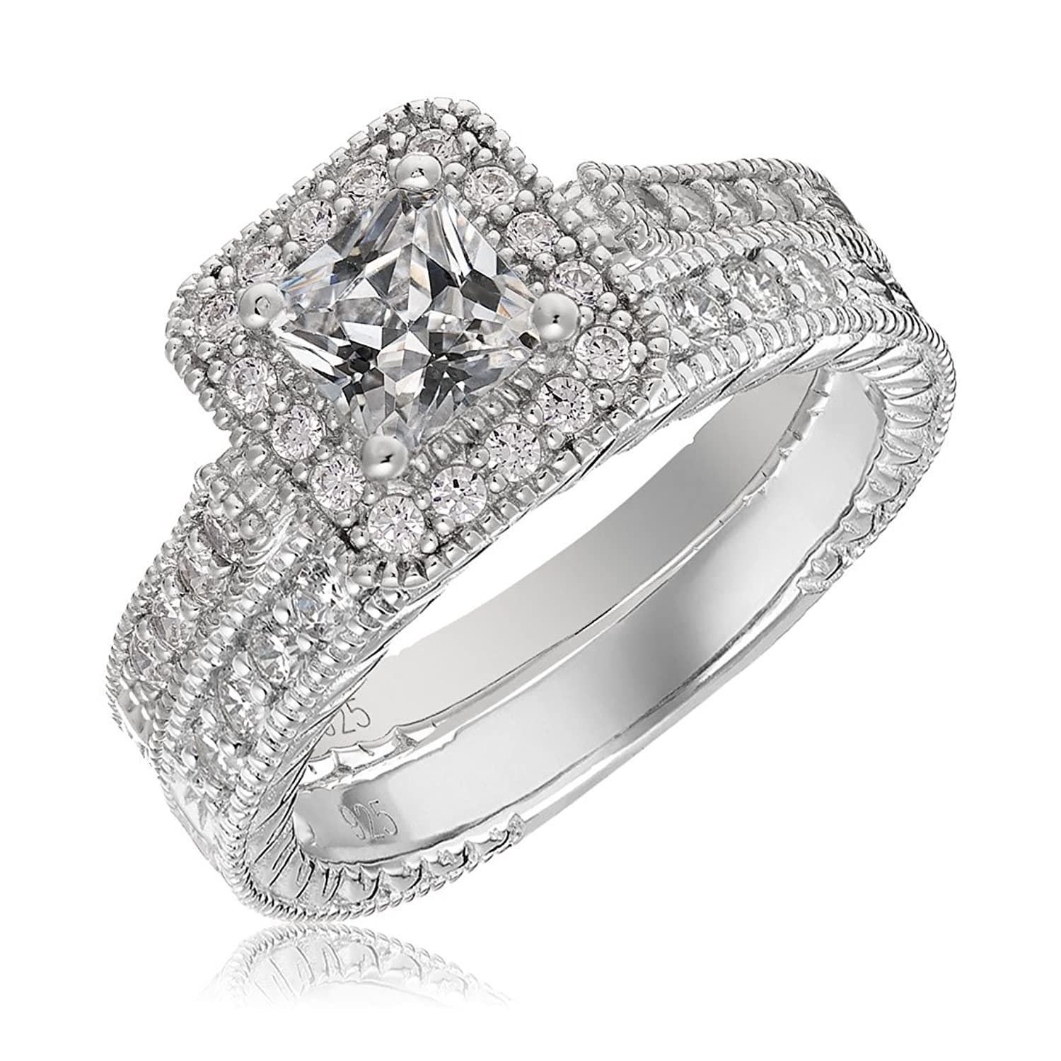 Amazon.com: Sterling Silver Engagement Wedding Ring Set Princess Cut ...