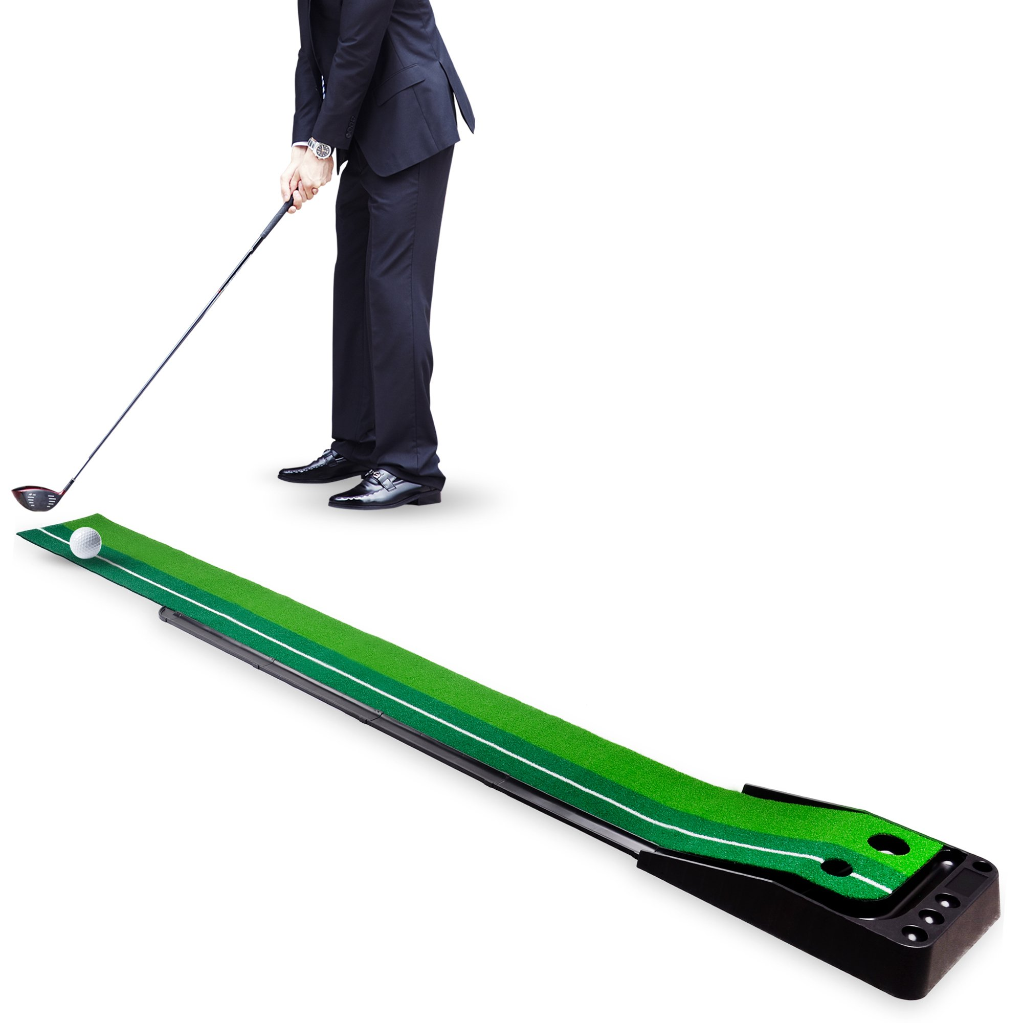 H&B Luxuries Indoor Golf Putting Mat 2 Holes Ball Auto Return, 9.84 Feet Long GPE01 by H&B Luxuries