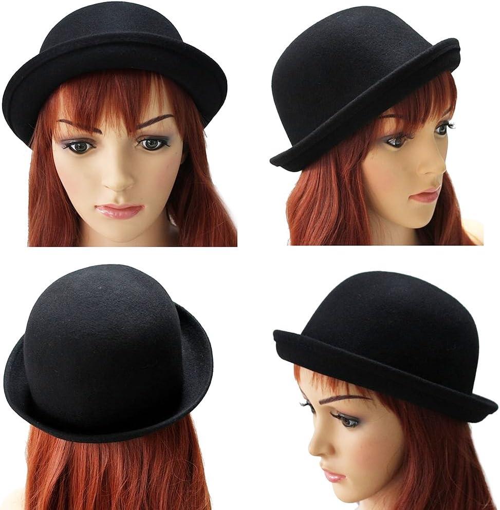OULII Chicas Roll-up ala lana cúpula sombrero bombín vestir accesorios de las mujeres (negro)