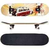 FunTomia Skateboard mit MACH1 ABEC-11 Kugellager und Rillen-Profil Rollen (Rollenhärte 100A) aus 100% 7-lagigem kanadischem Ahornholz (Es stehen verschiedene Farbdesigns zur auswahl)