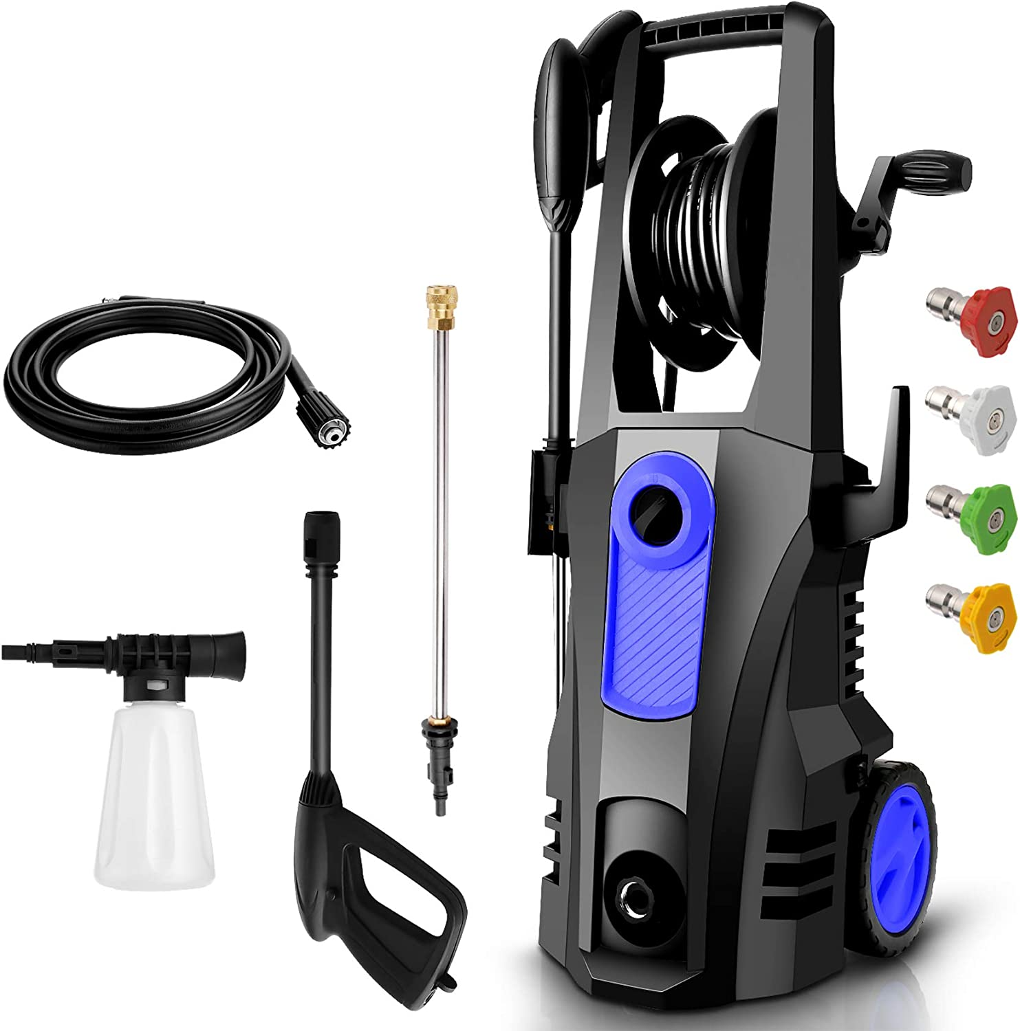TEANDE 3500PSI Electric Pressure Washer, Car Pressure Washer High Power Washer Cleaner Machine with Hose Reel, 1800W, 2.6GPM, 4 Nozzles for Patio Garden Yard : Garden & Outdoor