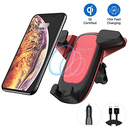 Wireless Car Charger, Kuulaa Qi Certified Wireless Charging Air Vent Car Mount with USB Car Charger, 10W 7.5W Fast Charger Cell Phone Holder for ...