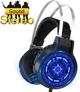 SNTIA Gaming Headset with Noise Isolation Microphone and LED Light for PS4 Xbox One PC Cellphone, Over-Ear USB Surround Stereo Headphone - Volume Control & Light Weight Design (Gaming Headset)