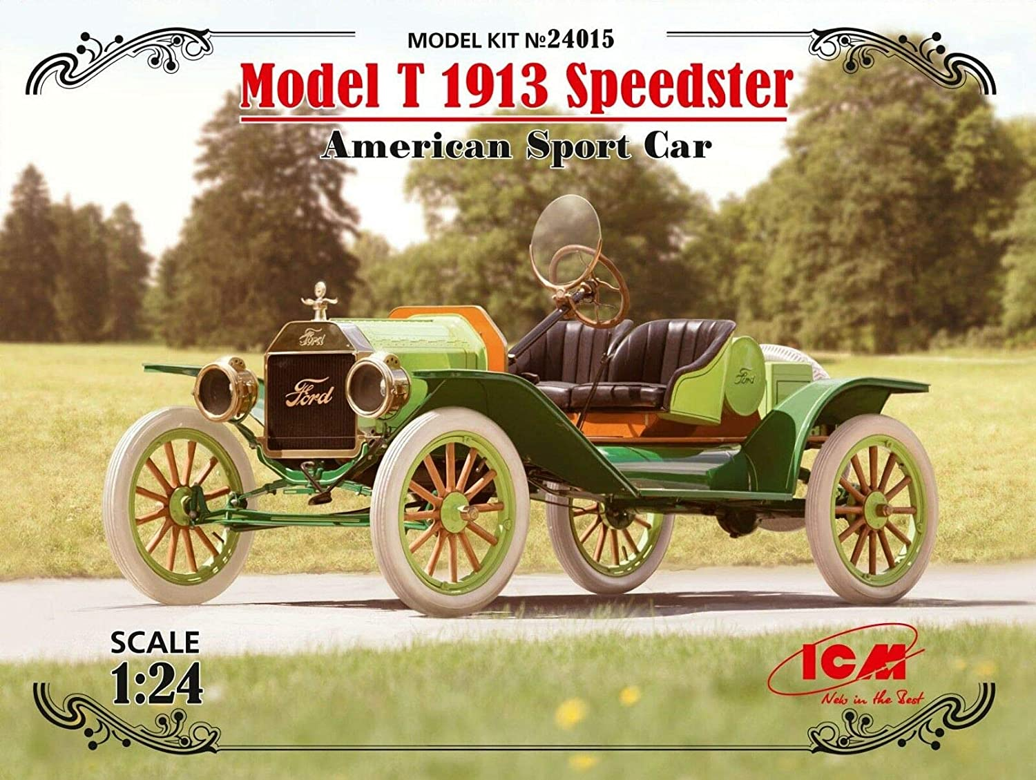 Icm 1 24 Scale Model T 1913 Speedster American Sport Car Plastic Car Model Building Kit 24015 Toys Games