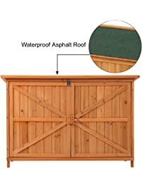 JAXPETY Wooden Garden Shed Wooden Lockers With Fir Wood (Natural Wood Color  U0026 Double Door