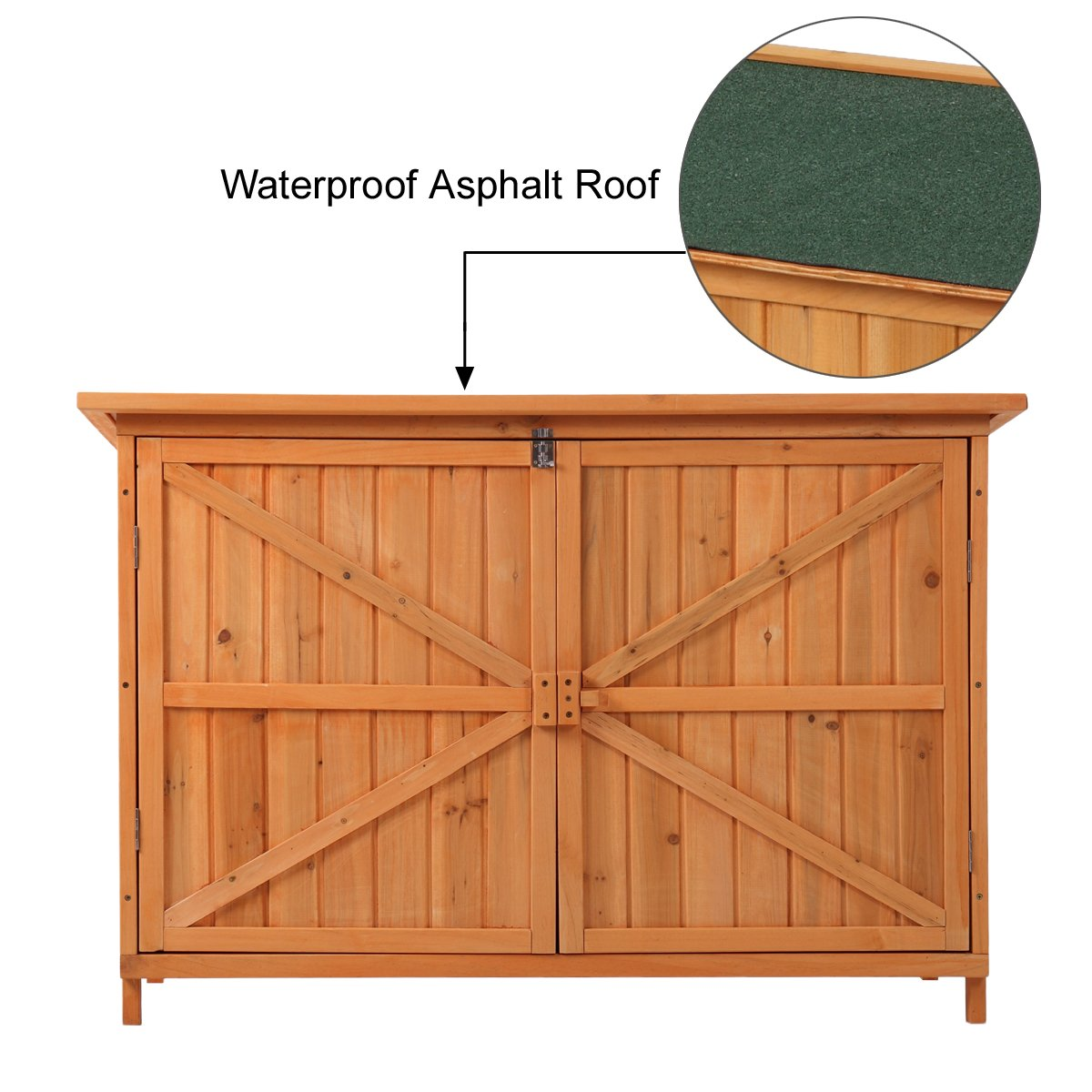 JAXPETY Wooden Garden Shed Wooden Lockers with Fir wood (Natural wood color & Double door # 2)