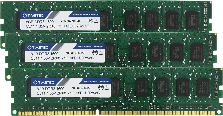 Timetec Hynix IC 24GB Kit(3x8GB) DDR3L 1600MHz PC3-12800 Unbuffered ECC 1.35V CL11 2Rx8 Dual Rank 240 Pin UDIMM Server Memory Ram Module Upgrade (24GB Kit(3x8GB))