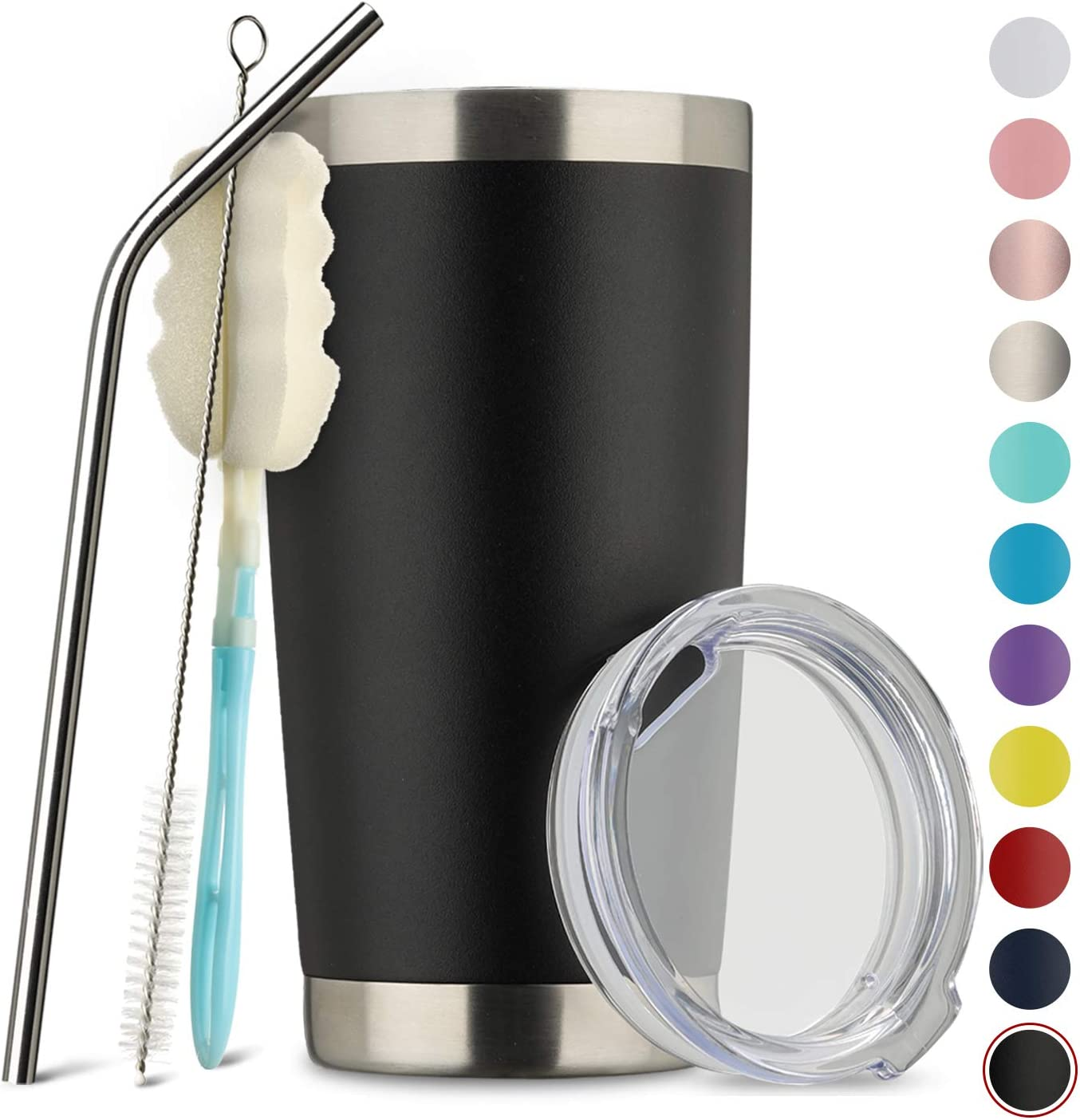 MUCHENGHY 20oz Tumbler Double Wall Stainless Steel Vacuum Insulated Travel Mug with Lid, Insulated Coffee Cup Travel Mug, 1 Straws,2 brush (Black, 1)