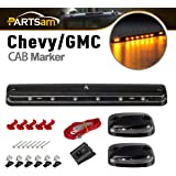 Partsam 3PCS Clear Lens Cab Roof Marker Lights 12LED Amber Top Assembly Light Compatible with Silverado/Sierra 1500 2500…
