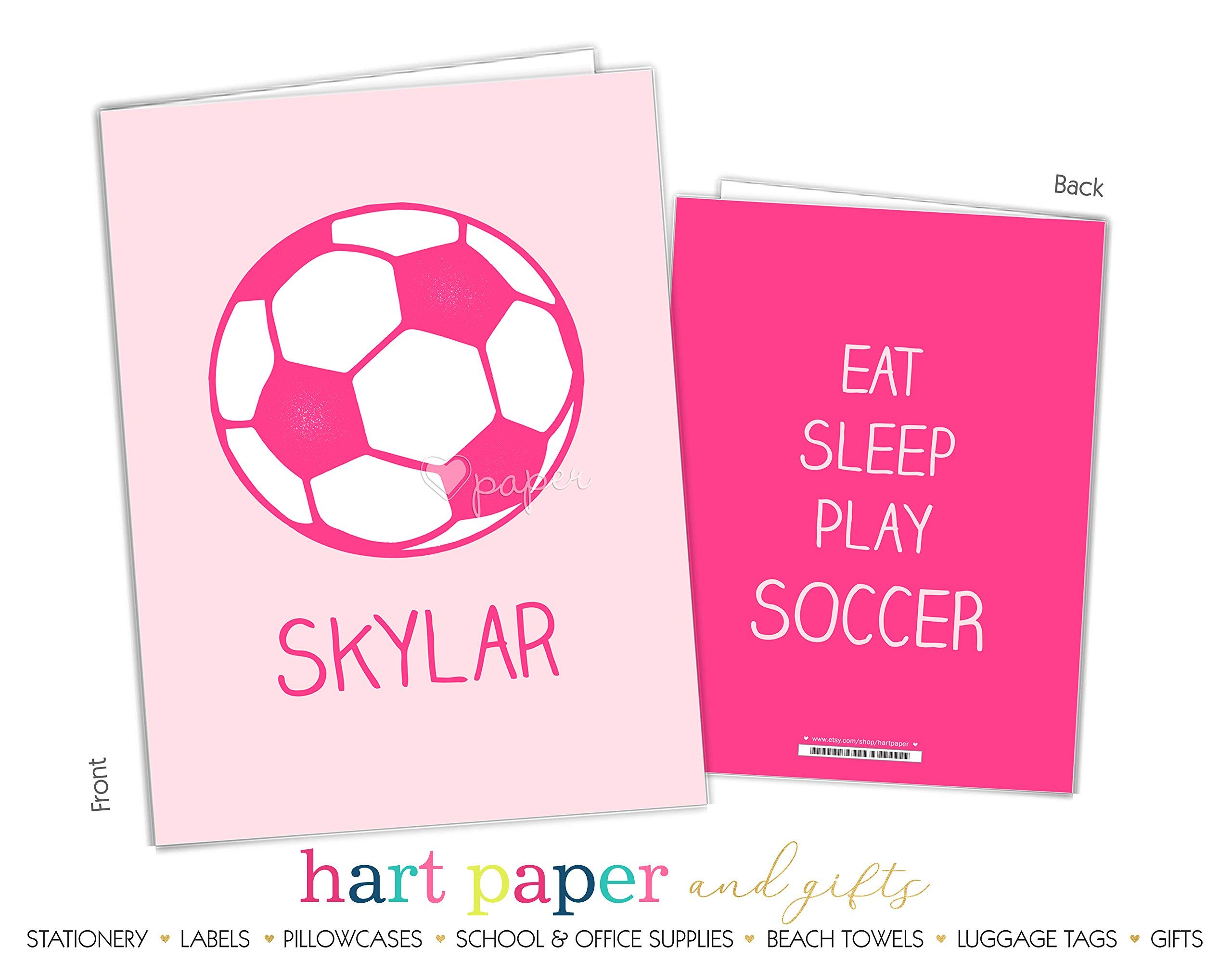 Hot Pink Soccer Ball 2 Pocket Folder Gift Name Back to School Supplies Teacher Office Birthday Girl Kids Custom Personalized Custom