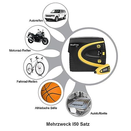 Roypow I50 Inflador de Neumáticos Compresor de Aire Digital 150PSI, Alta Velocidad 3 Minutos, Medidor de Aire Desmontable + Pre fijado de Presión + Linterna ...