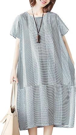 Mallimoda Femme Robe Lin Coton Imprime Chic Grande Taille Long Tunique Tops A Manches Courtes Amazon Fr Vetements Et Accessoires