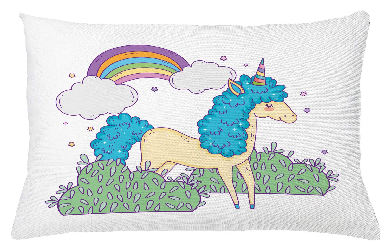 Lunarable Rainbow Throw Pillow Cushion Cover, Hand Drawn Doodle Funny Little Unicorn with Clouds and Bushes Nursery Themed Art, Decorative Accent Pillow Case, 26'' X 16'', Multicolor