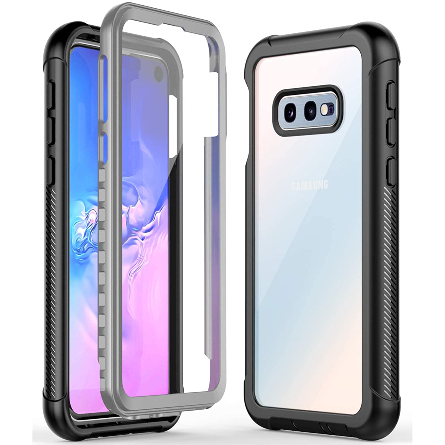 GOCOOL Samsung Galaxy S10E Case Clear Full Body with Built-in Screen Protector, Clear Sound, Heavy Duty Shockproof Rugged Cover Case 5.8 inch