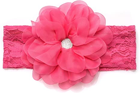 1 Pack Of Pink Organza Stretchy Headband//hair Accesories//Newborn-7 Years Old