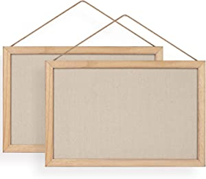 Emfogo Wall Bulletin Board for Home Wood Bulletin Boards with Linen Kitchen Office Decorative Hanging Pin Board Frame Cork Board Light Bulletin Boards for Bedroom Pack of 2