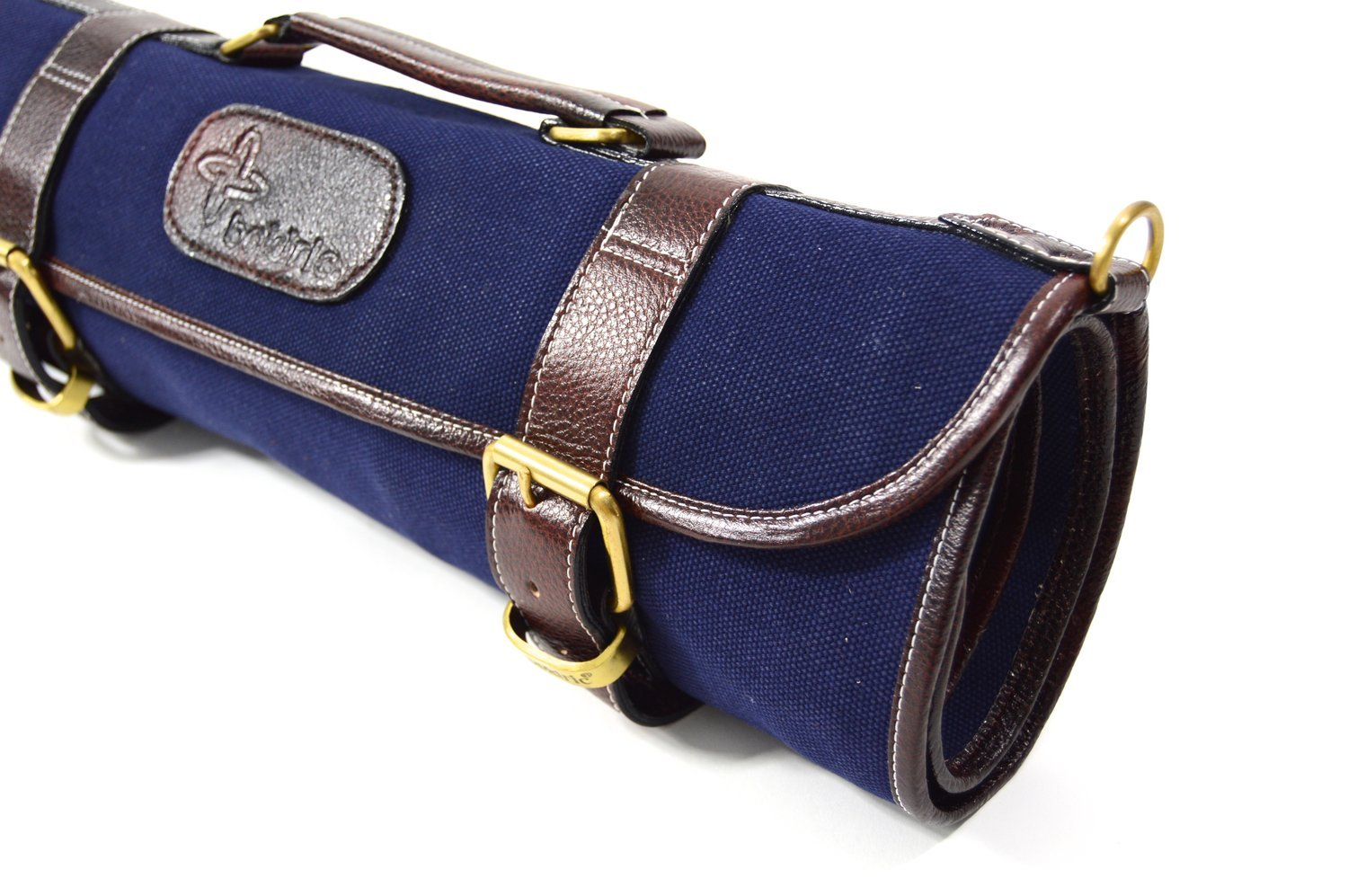 Boldric 9 Pocket Knife Bag, Roll Up Canvas with Handle and Shoulder Strap, Top Quality Portable Chef Knives Case Storage Bag, Navy, 18-inch