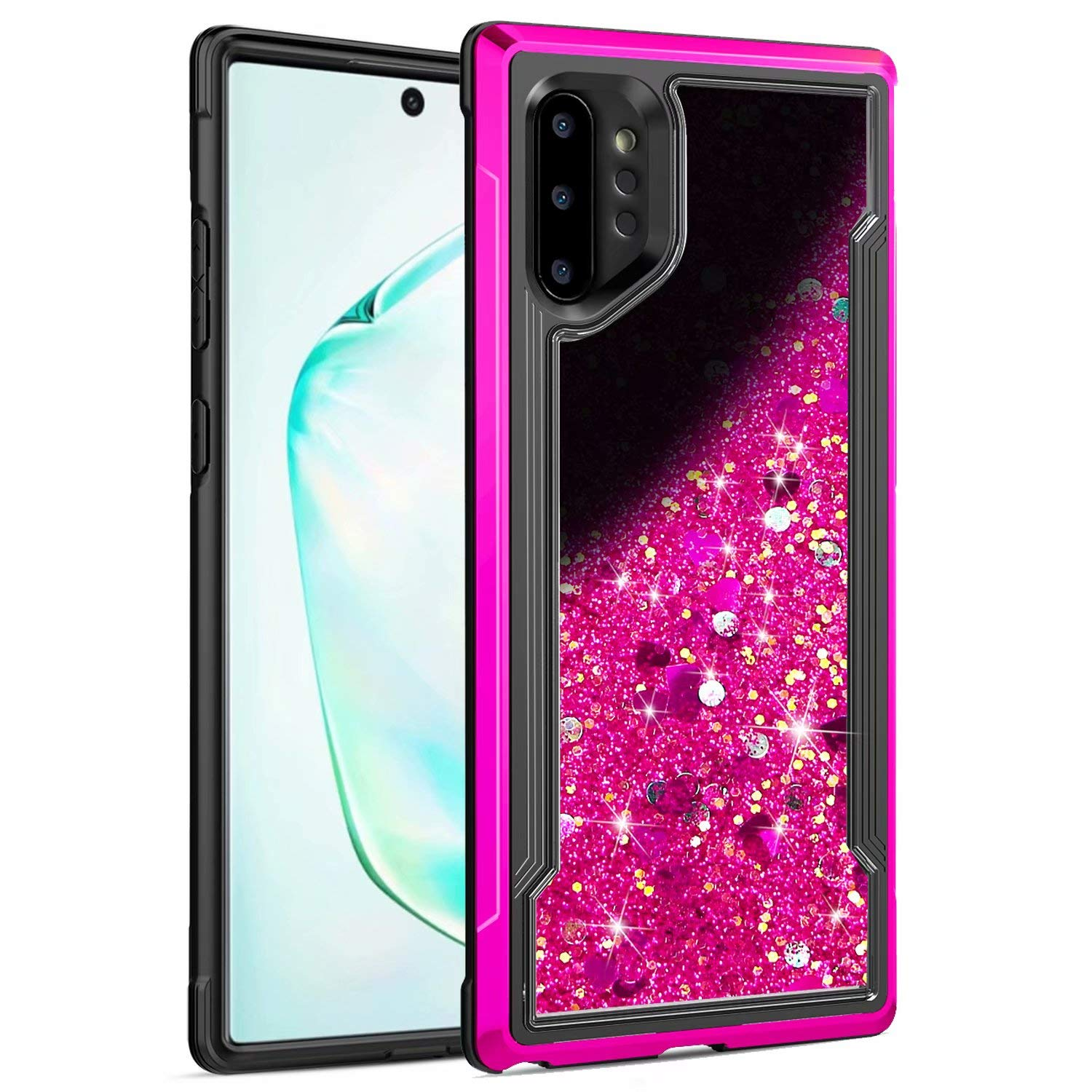 Galaxy Note 10 Case, Ranyi Slim Protective Liquid Glitter Case Flowing Liquid Floating Glitter Sparkle Quicksand Resilient Rubber Electroplated Bumper Case for Samsung Galaxy Note 10 5G (hot Pink) by Ranyi