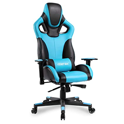 Merax Computer Gaming Chair High Back Racing Style Chair Ergonomic Design Executive Chair (Blue and Black)