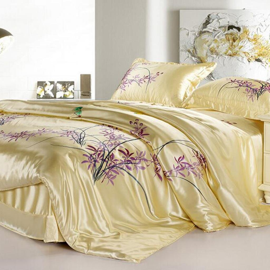 L&M Hand Painted Silk pieces of four sets Double-sided 100% silk silk Bedding Silk Kit , yellow , 200230cm