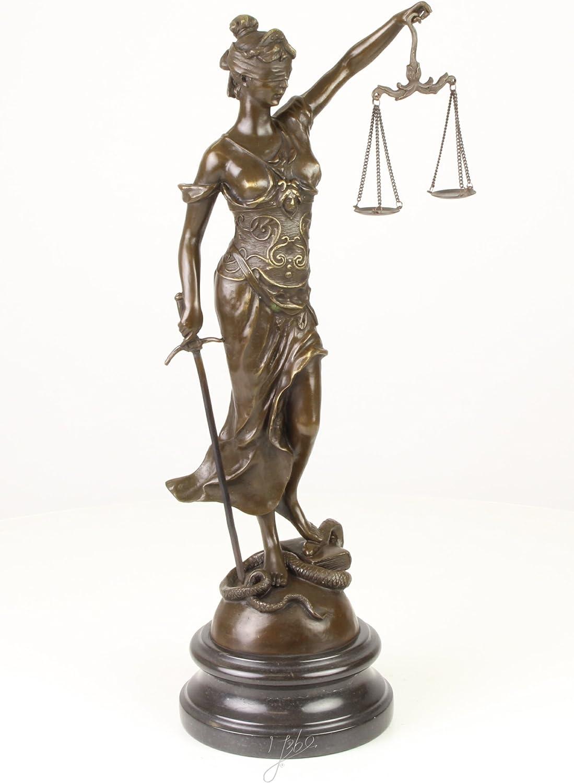 Bronzeskulptur Justitia Justizia Statue Bronze Figur Skulptur Antik-Stil 35cm